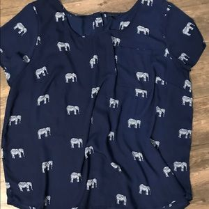 TORRID ELEPHANTS BLOUSE WITH BUTTONS DOWN THE BACK